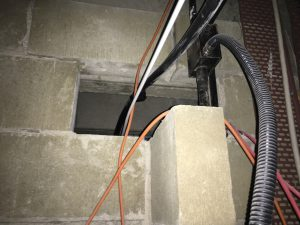 A photo showing where incorrect fire stopping materials have been applied